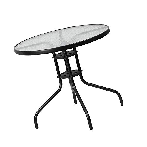 jn.widetrade Round Outdoor Bistro Table Metal Steel Frame with Glass Table Top for Backyard Swimming Pool Side Decor Small Patio & e-Book by jn.widetrade