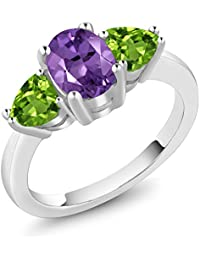2.06 Ct Oval Amethyst and Peridot 925 Sterling Silver 3 Stone Ring (Available in size 5, 6, 7, 8, 9)