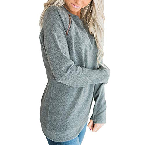 Automne Mode Pullover Shirts Jumpers Sweat Longues Blouse T Tee Shirt Printemps Femmes Tops Pulls et Hauts Col Gris Rond Manches fwAfO5