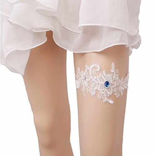 Bueer Wedding Bridal Bridesmaid Lace Garter Set Keepsake Toss Tradition Vintage (1-Royal Blue Crystal and Sequins)