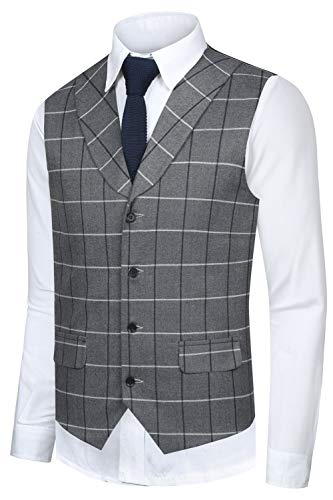 Hanayome Mens 2017 Unique Skinny Vest Slim Fit Custom Wedding Dress Waistcoat SI81,Light Grey,M(US Tag Chest 40