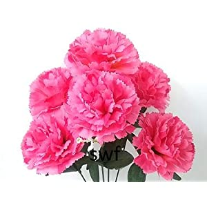 """14.5"""" Carnations Silk Wedding Flowers Bridal Bouquets Centerpieces Home Party Decorations 6 Carnations 100"""