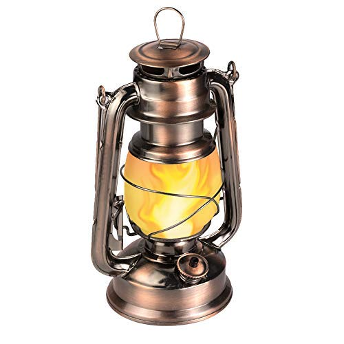 LEDERA Flame Light Vintage Lantern, Antiqued Copper Flickering Lantern, 2 Models,Full White and Flame Effect with Battery Operated, Decorative Hanging Lanterns