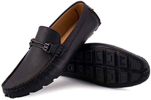 Mio Marino Mens Loafers - Italian Dress Casual Loafers for Men - Slip-on Driving Shoes - in Gift Shoe Bag - Cultured Pebble Leather Loafer - Black - Size US-12D(M) | UK-11.5 | EU-45