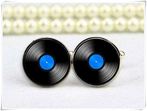 Vinyl record cufflinks, record cuff links, disc record cuff links