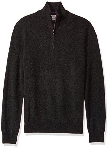 Phenix Cashmere Men's 1/4 Zip Sweater With Contrast Color Tipping, Carbon/Thistle, (1/4 Zip Color)