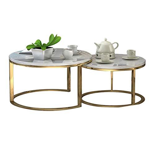Amazon.com: Juego de mesa auxiliar de café, mesa redonda de ...