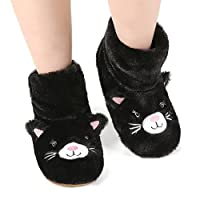 Panda Bros Slipper Socks for Women Cozy Warm Lined Fuzzy Sock Slippers Indoor Booties with Non Slip Grippers(black cat,5-7.5)