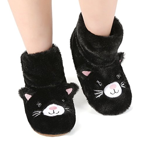 Panda Bros Slipper Socks for Women Cozy Warm Lined Fuzzy Sock Slippers Indoor Booties with Non Slip Grippers(black cat,8-10)
