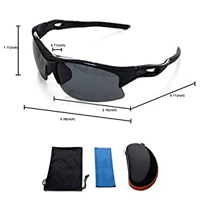 Unisex Polarized Sports Sunglasses for Men Womens Cycling Running Driving Fishing Golf Baseball Glasses Black