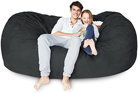 Lumaland Luxury 7-Foot Bean Bag Chair with Microsuede Cover Black, Machine Washable Big Size Sofa and Giant Lounger Furniture for Kids, Teens and Adults