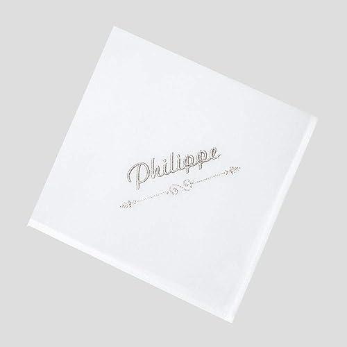 grande remise magasin d'usine nouveaux produits pour Mouchoirs blanc en coton bio français avec votre prénom ...