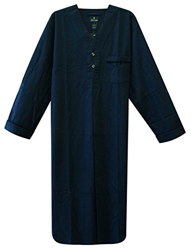 Stafford - Men's Flannel Nightshirt (Medium, Solid Blue)