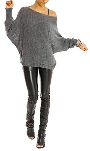Bestyledberlin - N.n. señoras suéter, suéter de punto, las señoras de la tapa bb´s, murciélago suéter t35p Rojo de vino