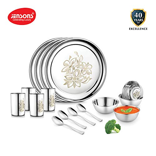 Jensons Stainless Steel Daisy Dinner Set -16 Pcs-Silver- Heavy Gauge with Permanent Laser Design Price & Reviews