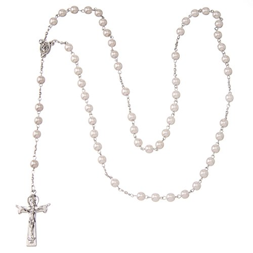 Sterling Silver PEARL ROSARY BEAD Necklace
