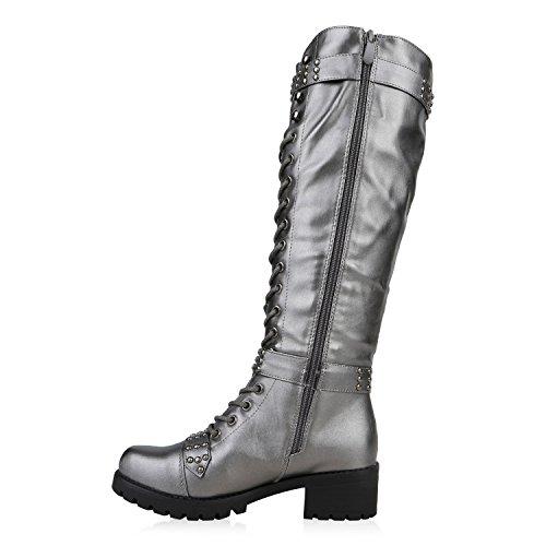 Stiefelparadies Damen Schnürstiefel Worker Boots Profilsohle Combat Boots Stiefel Leder-Optik Schuhe Blockabsatz Booties Flandell Grau Metallic