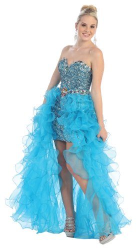 Beaded organza high-low-Turquoise-16