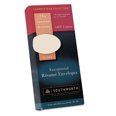 Southworth Company Products - Resume Envelopes, Laser/Inkjet, No 10, 24lb., 50/PK, Ivory - Sold as 1 BX - Exceptional Resume Envelopes are designed for use with Southworth Exceptional Resume Paper for a professional, organized and credible presentation. M by Southworth