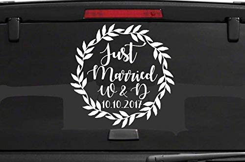 (CELYCASY Just Married Car Window Decal Wedding Car Kit Just Married Decal Just Married Sign Wedding Car Decals Wedding Decorations Vehicle Decals)