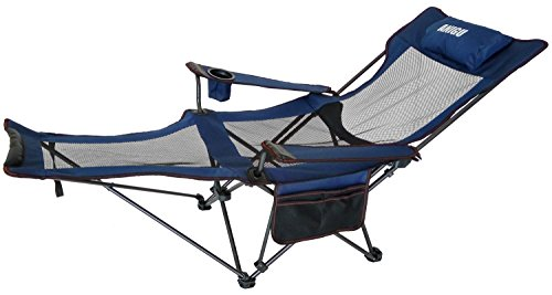 Anigu Mesh Lounge Reclining Folding Camp Chair with Footrest and Carry Bag (Blue)