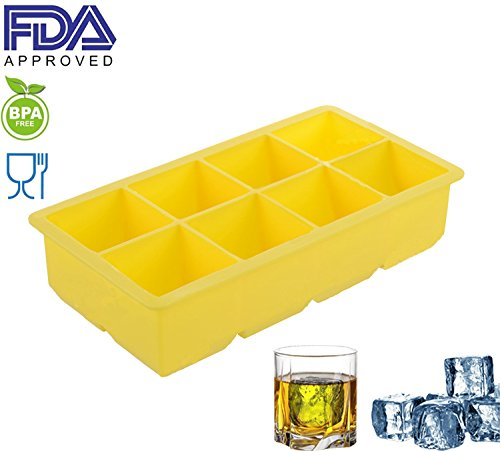 [Comtelek Large Ice Cube Tray for Whiskey Cocktail, 2 Inch Silicone Ice Cubes Making Mold] (Easy Halloween Cold Appetizers)