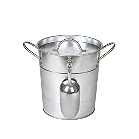 Hot Sale T586 4L Silver Metal Galvanized Double Walled Ice Bucket Set With Lid And Scoop