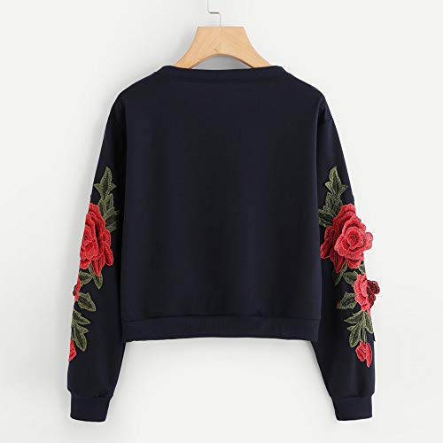 Pullover Rose Broderie O Mode Marine Longues Sweat Chic Applique Manches Femmes Blouse Top À Keerads neck 1w7qYBq