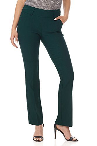 Spandex Stretch Trousers - Rekucci Women's Ease in to Comfort Fit Classic Bootcut Pant w/Tummy Control (14,Hunter Green)