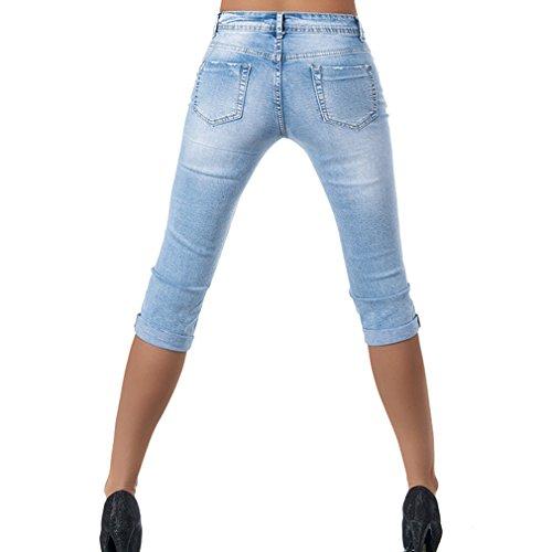 Pantalons Trou Mi Jeans Taille Unie 4 t Bleu 3 Leggings Cass Skinny Dcontracts Bleu S Femmes 3XL Pantalons Recadre Jeans Quarts Fit Sept Dames Slim Couleur TtqqOwx8
