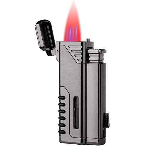 (lcfun Torch Lighter,Refillable Gas Fuel Butane Lighter, Butane Torch Lighter,Quad Jet Lighter,4 Red Flame Torch Lighters with Punch Cutter and Butane Window-Butane Not Included)