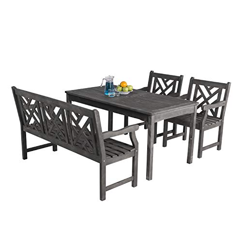 Vifah V1297SET18 Versailles Outdoor 4-Piece Hand-Scraped Wood Patio Dining Set with 4-Foot Bench