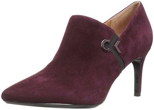 Calvin Klein Women's Joanie Suede Ankle Boot, Oxblood/Black, 7.5 Medium US by Calvin Klein