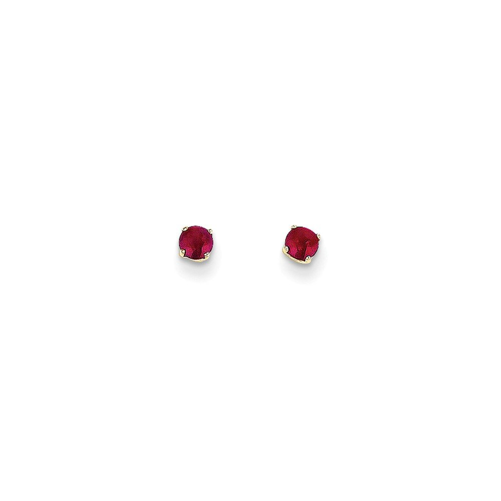 ICE CARATS 14k Yellow Gold 3mm July/ruby Post Stud Ball Button Earrings Birthstone July Prong Fine Jewelry Gift Set For Women Heart by ICE CARATS (Image #3)