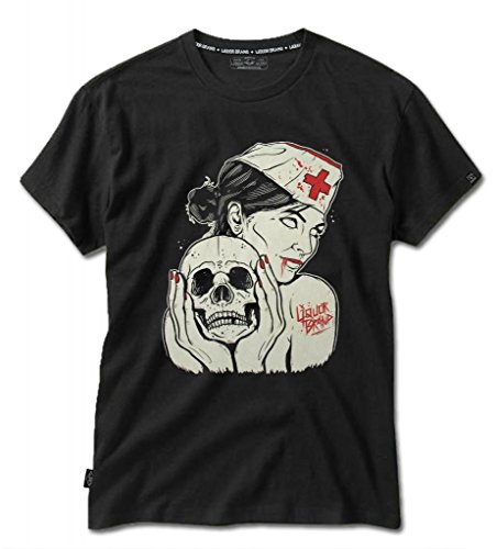 Liquor-Brand-Mens-Walking-Dead-Zombie-Nurse-Splatter-Skull-Hardcore-Emo-T-Shirt