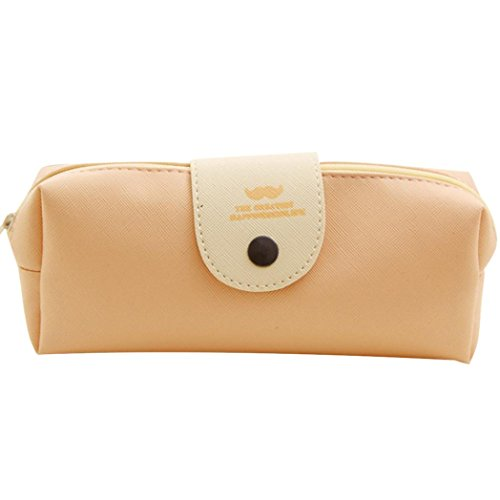 Price comparison product image MChoice Leather Cosmetic Makeup Bag Pen Pencil Stationery Case Zipper Pouch Box (Beige)