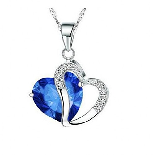 Shally Womens Stylish Artificial Gem Love Heart Shape Pendant Chain Necklace Valentines Gift