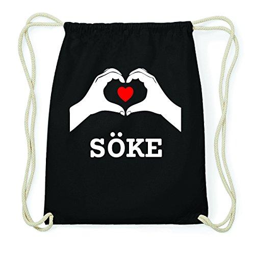 JOllify SÖKE Hipster Turnbeutel Tasche Rucksack aus Baumwolle - Farbe: schwarz Design: Hände Herz