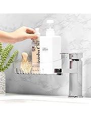 Abcidubxc - Cesta de almacenamiento con ventosa para almacenamiento de cocina de cuarto de baño, transparente, con agujero de vaciado