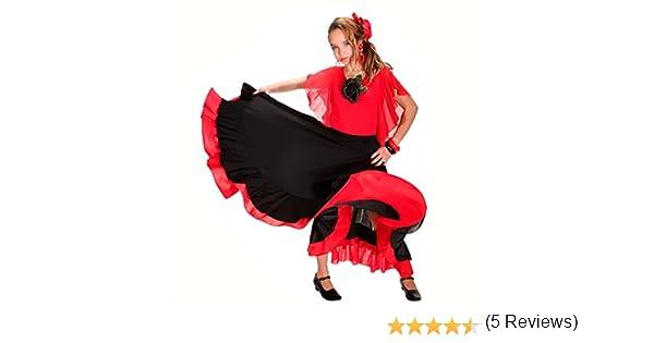 Falda Baile Flamenco Infantil Volante Rojo 6 años: Amazon.es ...