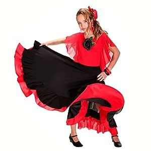 Falda Baile Flamenco Infantil Volante Rojo 10 años: Amazon.es ...