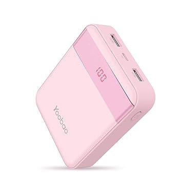 Yoobao 10000mAh Cargador Portátil Batería Externa Ultra Pequeña y Compacta, Entrada Dual (relámpago y Micro USB) Salida Dual con Smart LED Digital ...