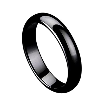Black Ceramic - 5mm - Wedding Band Ring For Him or Her Domed High Polished get discount