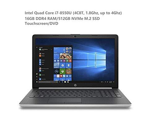 2019 Newest HP 15 15.6″ Micro-Edge Touchscreen HD Business Laptop (Intel Quad-Core i7-8550U, 16GB DDR4 Memory, 512GB NVMe M.2 SSD) DVD, HDMI, Windows 10