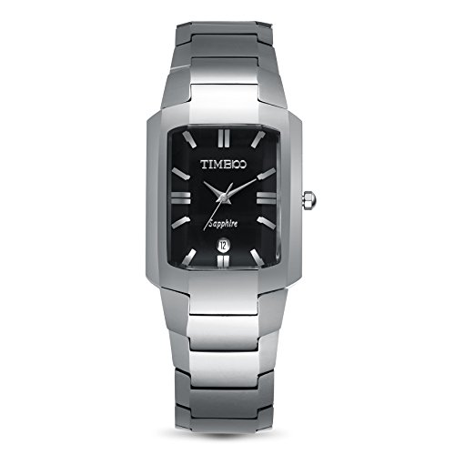 TIME100 Fashion Tungsten Steel Black Square Dial Sapphire Mirror Couple Watch(For Men) (Black Mirror Dial)
