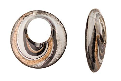Spiral Design Black Base Large Hole Round Lampwork Glass Pendant 47x10mm Handmade Murano Inner Flower and Lampwork Glass Pendant (4pcs bundle), SAVE $3