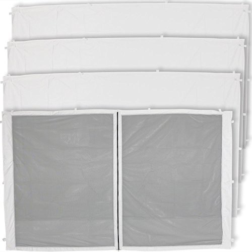 Sunnydaze Zippered Mesh Sidewall Kit for 12x12 Straight-Leg Canopy Tent, 4-Panels with 1 Zippered Entry