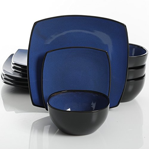 - Gibson Elite Soho Lounge 12 Piece Dinnerware Set, Cobalt