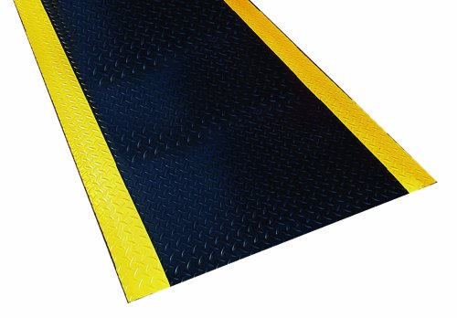 Durable Corporation Diamond-Dek Ultra-Safe Anti-Fatigue Mat Roll, 36'' Width x 60' Length, Black with Yellow Border by Durable Corporation