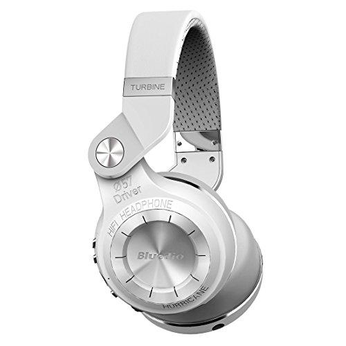 Bluedio T2 Plus Turbine Wireless Bluetooth Headphones with Mic/Micro SD Card Slot/FM Radio (White)…